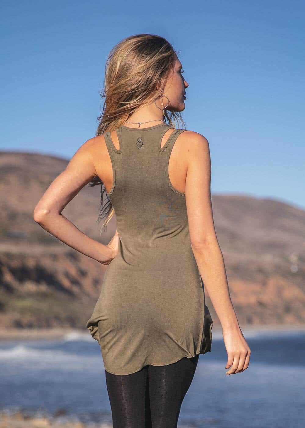 Hemp Dreamweaver Tunic in Dusky Green Back by Nomads Hemp Wear