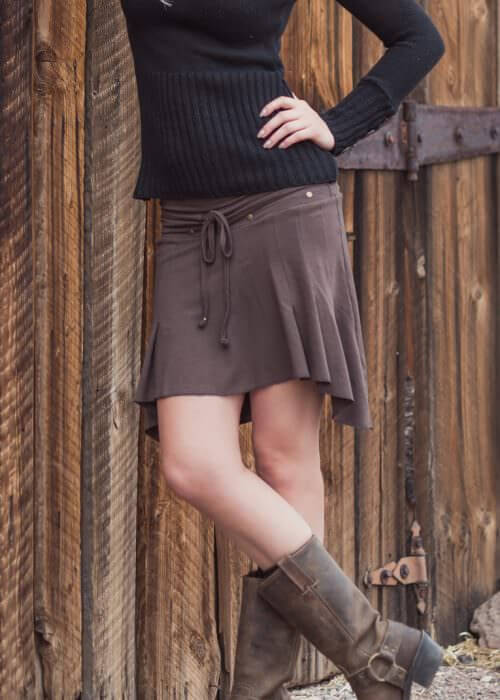 Eminence Skirt in brown made from bamboo and organci cotton by Noamds Hemp Wear