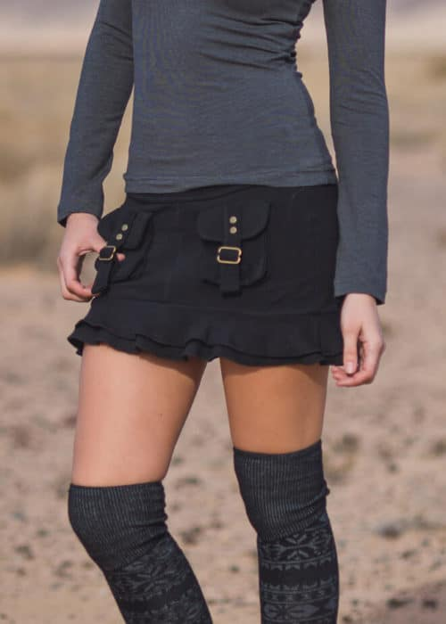 Hoodlum Skirt in hemp and organic cotton, by Nomads Hemp Wear in black