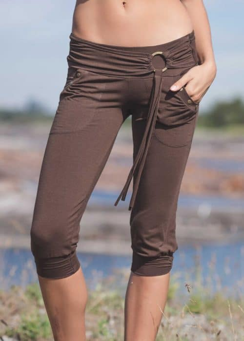 Illyria Capris Organic Cotton & Bamboo Capris in brown on a model