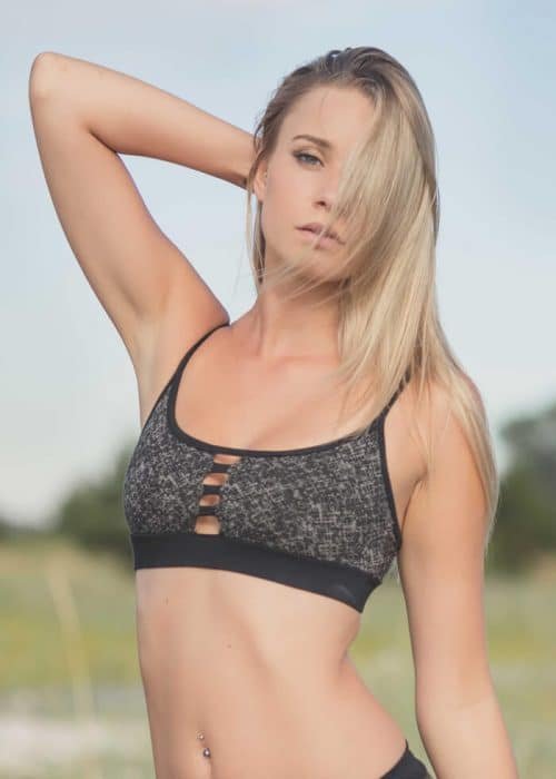 blonde model in Pagoda Bra in Organic Cotton & Bamboo