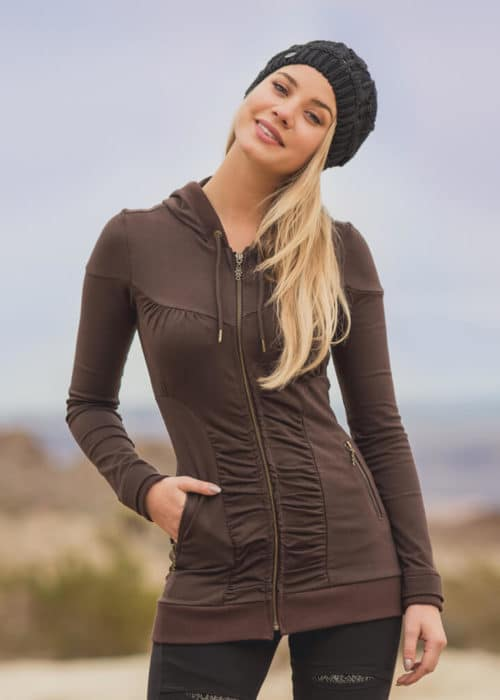 Transcend Hoodie in hemp by Nomads Hemp Wear. Brown zip down hoodie